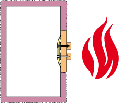 Illustration of a fire outside a ventilation duct